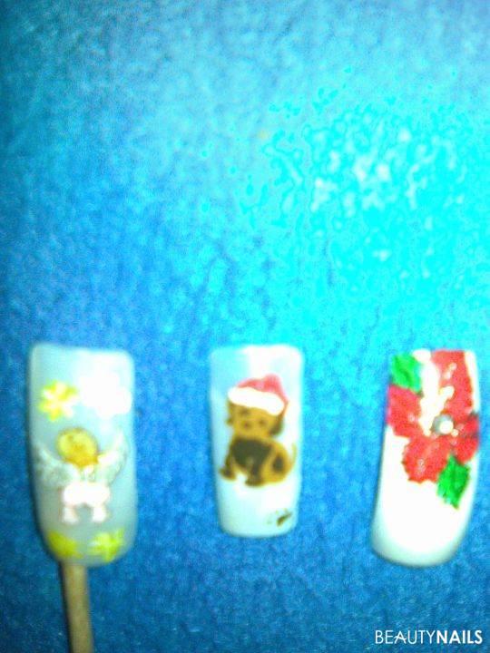 1.Versuch Airbrush und zwei gemalte weihnachten