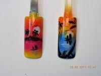 Airbrush mit Inselmotiv, Palmen, Meer Mustertips