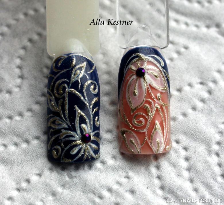Blumenornamente mit Steinchen Mustertips