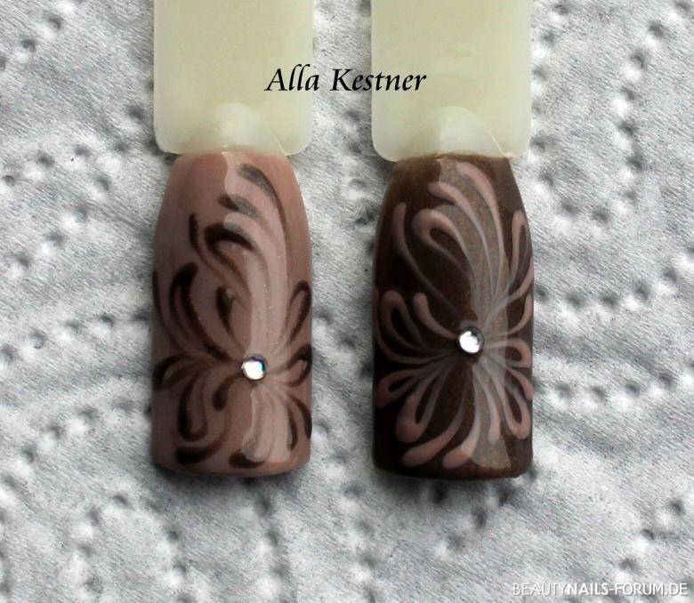 Brauntöne mit Stein und stilisierter Blüte Mustertips