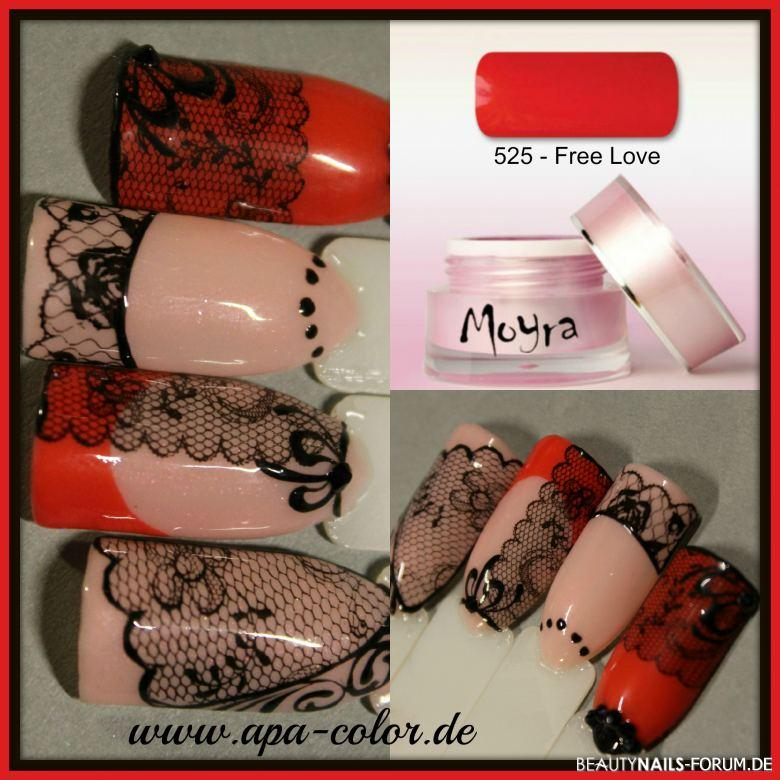 Burlesque Stamping Tips in rot und schwarz Mustertips