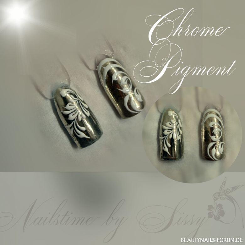 Chrome Pigmente mit Gelmalerei Mustertips