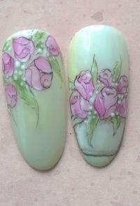 Gelmalerei rosa Blumen auf marmoriertem Fullcover Mustertips