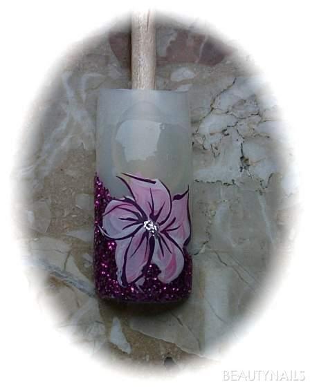 magenta Glitzer Blume zweifarbig