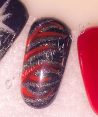 Muster-Tip / Wild-Tiger in Black-Red-Silver Glitter Mustertips