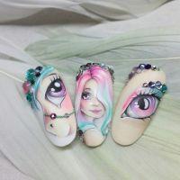 Nageldesign mit Strasssteinen - Pferd, Mädchen, Auge Mustertips