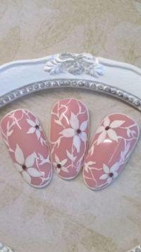 Nude mit weißem Sugar Design - Blumenmotive Mustertips
