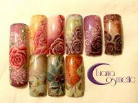 Pastellfarbene Blütennägel Mustertips