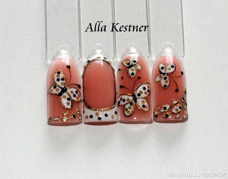süße Schmetterlinge mit Punkten in weiß, gold, schwarz Mustertips