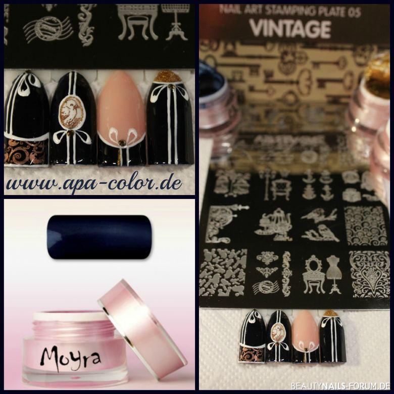 Vintage Stamping Nails Mustertips