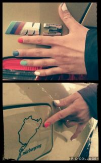 Autofan Nailart in BMW M3 Farben Nageldesign