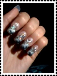 black and silver inkl onestroke Nageldesign