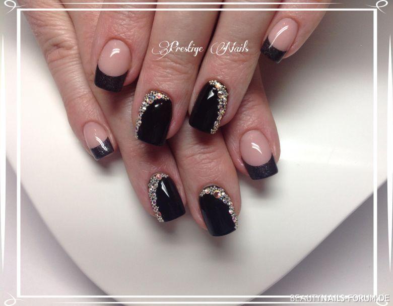 Black - Diamond, schwarz und silber Nageldesign