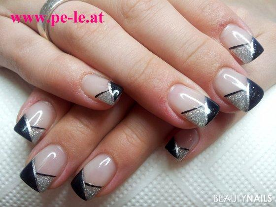 Black silber nageldesign for Nageldesign matt