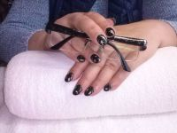 Black silver stars Nageldesign