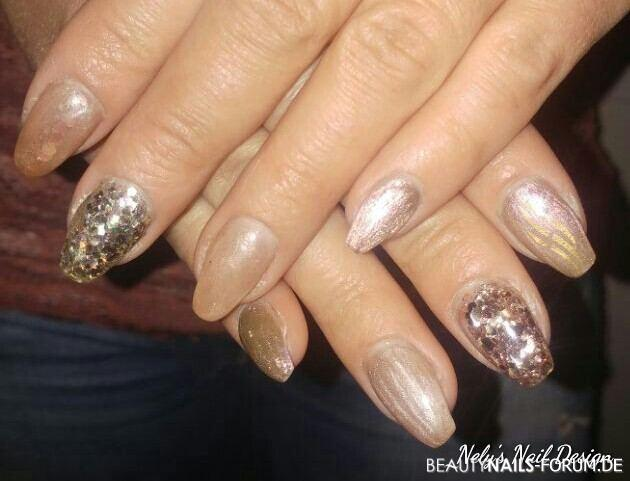 Bronze und Goldtöne mit Glitter Nageldesign gold - Metallic Brass mit Bronze Glitzer Nailart