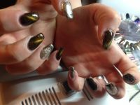 Cat Eye - Katzenaugendesign mit Silber Nageldesign