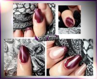Cat Eye Rot mit Glitzersteinchen Nageldesign