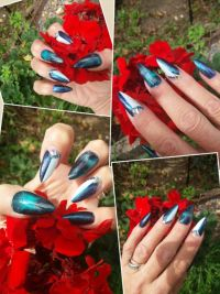 Chrome und Cat Eye Nageldesign