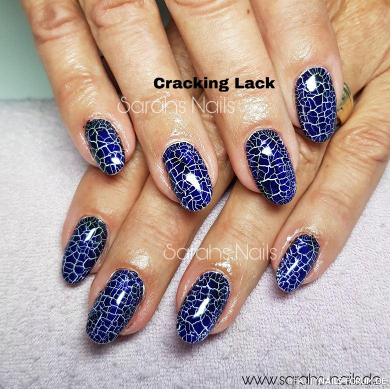 Cracking Nägel Fullcover in blau Nageldesign blau weiss - Fullcover, Cracking, Blau Nailart