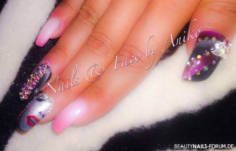 Crazy Multi Colors - pink, perlmutt, glitter und steine