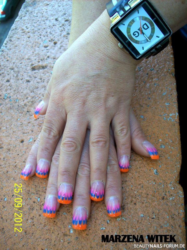 Flamen muster , orange, pink und blau