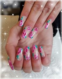Flower Power - Modellage Nude mit One Stroke Blumen. Nageldesign