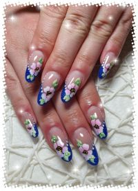 French blau mit One Stroke Blumen Nageldesign