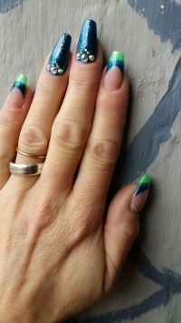 French Farbverlauf in blaugrün mit Chrome Effekt Nageldesign
