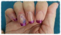 French in dark pink mit Airbrush Nageldesign