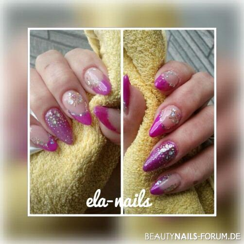 French in lila neon Farben Nageldesign -  Nailart