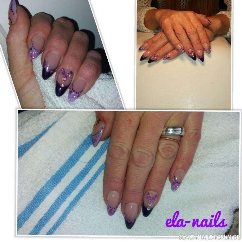 French Manicure In Schwarz Lila Mit Steinchen Nageldesign