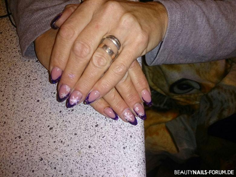 French mit Winter Design Nageldesign