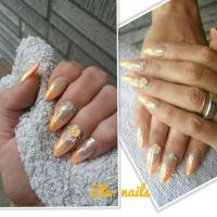 French Nail Design mit 3D Blumen und Strass Nageldesign