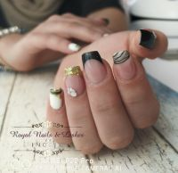 French Style in Gold glitzer, schwarz & weiß Nageldesign