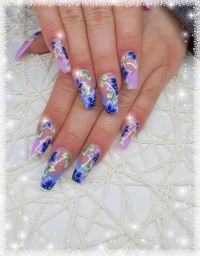 Frenchmodellage mit One Stroke Nageldesign