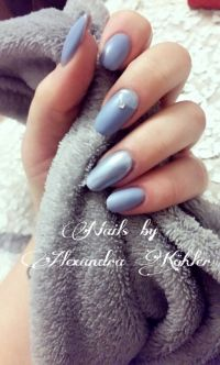 Fullcover Blau Grau Matt mit Chromenagel Nageldesign