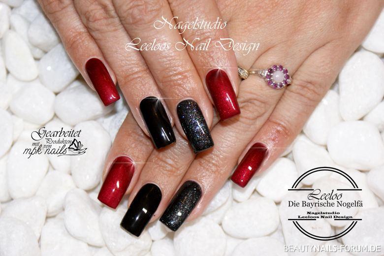 Fullcover Herbst Design In Schwarz Und Rot Nageldesign