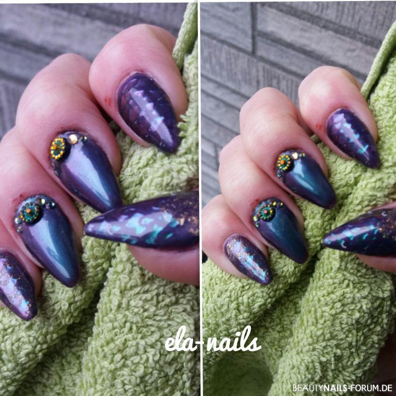 Fullcover mit chrome Nageldesign