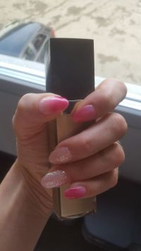 Fullcover Nageldesign in pink und glitzer Nageldesign
