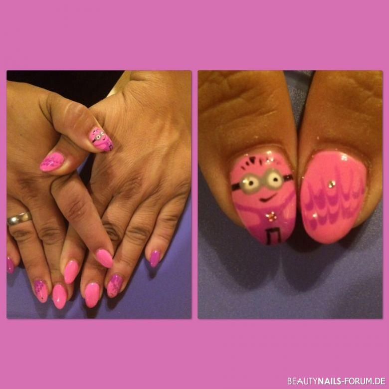 Fullcover Pink lila & Little minion Woman Nageldesign