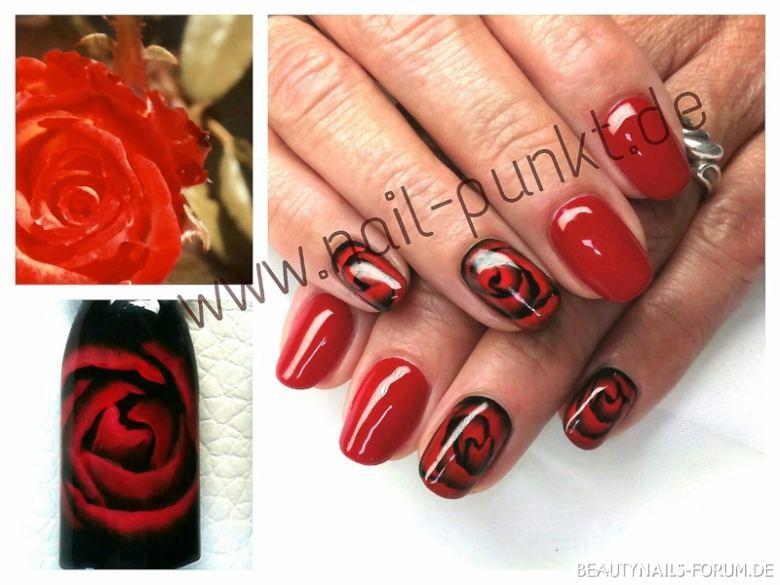 Fullcover rot + schwarz und Rosen Nageldesign