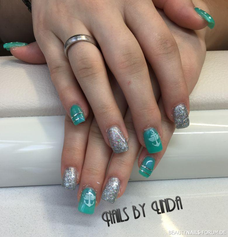 Fullcover Silber Mint Nageldesign