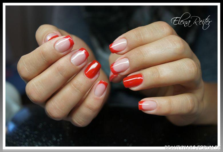 Gel Modellage French Rot Nageldesign