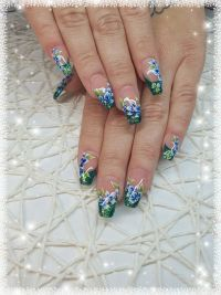 Glitter French und One Stroke Nageldesign