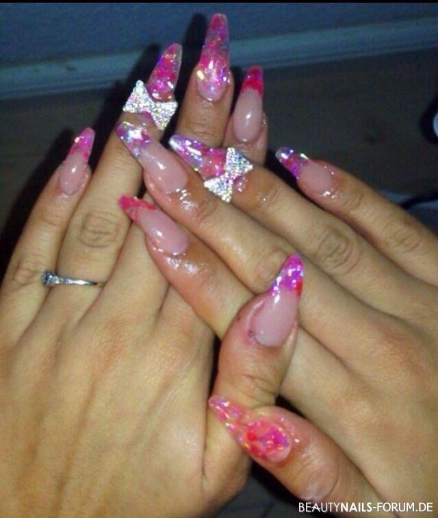 Glitter pink french / fullcover Nägel Nageldesign
