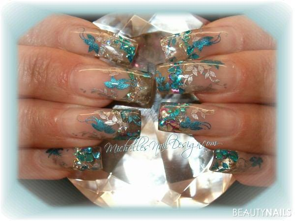 jan10 002 Nageldesign - Clear Design mit Chrome Stempel Nailart