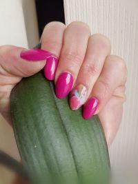 Knallige Frühlingsmandeln pink mit Wrap Nageldesign