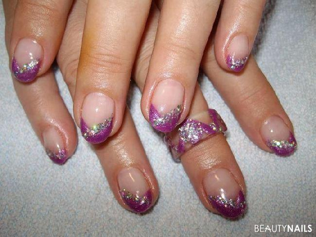Metallic-Lila+Pailetten Nageldesign -  Nailart