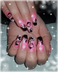 "Modellage im Girly-Look mit ""Hello Kitty"" Motiv Nageldesign"